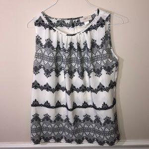 Ann Taylor Loft Dress Cream Black Tank SP